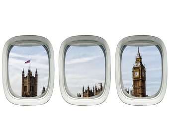 VWAQ Plane Window Decal - Big Ben Wall Stickers Kids Room Airplane Decor VWAQ-PPW18