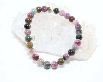 Bracelet Polished Rainbow Tourmaline 5-7mm Beads/Stones Reike/Crystal Healing Elastic Cord-FREE SHIPPING-