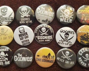 The Goonies Button Badges x 15. Pins. Wholesale. Collector. Bargain :0)