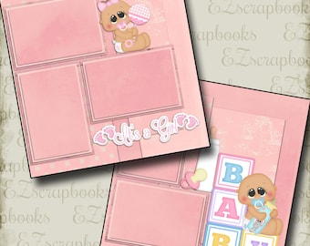 New BABY GIRL - 2 Premade Scrapbook Pages - EZ Layout 46