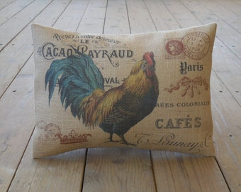 Rooster Postcard Burlap  Pillow, Farmhouse Pillows, Farm 11, French Country, INSERT INCLUDED