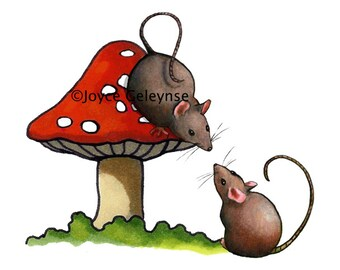 Hand Drawn Clip Art Two Cute Mice with a Red Toadstool:Freehand Art, Mouse, Commercial Use, Instant Download, jpg and gif files