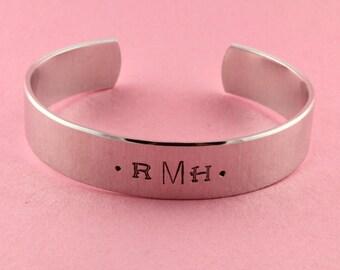 Monogram Cuff Bracelet - Silver Bracelet - Initials Bracelet - Monogrammed Bracelet - Personalized Bracelet - Custom Bracelet - Gift For Her