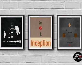 Christopher Nolan Minimalist Poster Set of 3 Films Interstellar Inception The Prestige Print Collectibles Cult Movies Wall Artwork Hanging