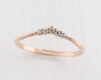 Curved ring, Stackable ring, Stacking ring, Minimalist ring, Tiny ring, Dainty ring, Small ring, Delicate ring,Elegant ring,Gold curved ring