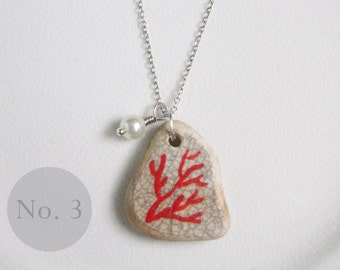 CUSTOM Red Coral Sea Pottery Necklace No 3, Real Coral Bead, Nautical Jewelry, Antique Style Charm Necklace, Beach Ceramic