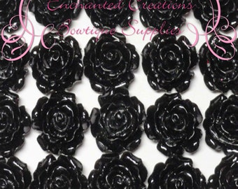 Resin Flower Cabochon 20mm, Black Roses, Uses Include Earrings, Magnets, Pins, Thumbtacks, Chunky Jewelry, Wine Charms, Pendant, Jewelry