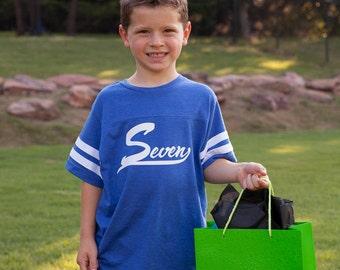 7th birthday shirt, boys seventh birthday shirt, football birthday shirt for seven year old