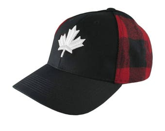 White Canadian Maple Leaf 3D Puff Embroidery on an All Season Adjustable Black and Buffalo Check Red Plaid Full Fit Classic Baseball Cap