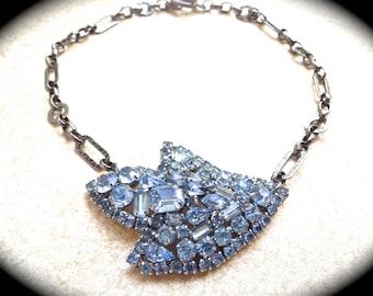 Large Blue Rhinestone brooch Necklace UniqueBridal Wedding Jewelry, vintage assemblage jewelry by www.etsy.com/shop/JNPVintageJewelry