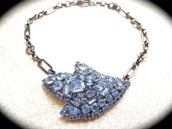Large Blue Rhinestone brooch Necklace UniqueBridal Wedding Jewelry, vintage assemblage jewelry by www.etsy.com/shop/JNPVintageJewelry