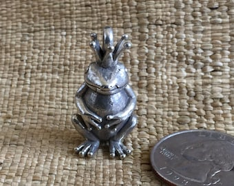 Silver Plated Solid Brass Frog Prince Pendant
