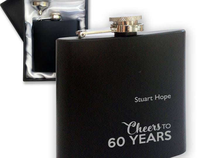 Personalised engraved 60TH BIRTHDAY hip flask gift , black hipflask in gift box - LCHE60BK