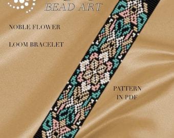 Bead loom pattern - Noble flower LOOM bracelet pattern in PDF - instant download