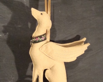 Fawn Sitting Whippet / Greyhound Angel  Decoration