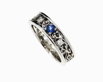 Blue sapphire and Diamond filigree engagement ring made from white gold, blue engagement, sapphire solitaire, unique engagement, filigree