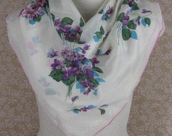 50s Silk Scarf Violet Bouquet Print