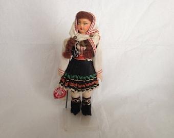 Vintage German Doll Trachten-Puppen German Dress with Original Label