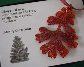 Copper Oak Leaf Ornament, Real Lacey Oak Leaf, Extra Large, Ornament Gift, Christmas Card, Happy Holiday Gift, First Christmas, ORNA133