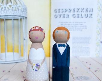 Peg Dolls - Custom Wedding Cake Topper - bride and groom