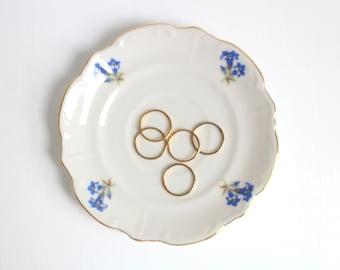 Vintage Ring Dish, Floral Ring Dish, Flower Ring Dish, Blue Ring Dish, Ring Dish, Jewelry Dish, Trinket Dish, Blue & White, Bareuther Cobalt