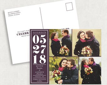 Purple Save the Date Postcards, Calendar Save the Date Postcards, Photo Save the Date Postcards, Save the Dates with 4 Photos, Printable