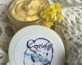 anti-aging Goat Milk cream | Sea Buckthorn | Helichrysum | Rose Hip + Argan | Goat Milk | organic Coconut | Immortelle flower 2-oz glass jar