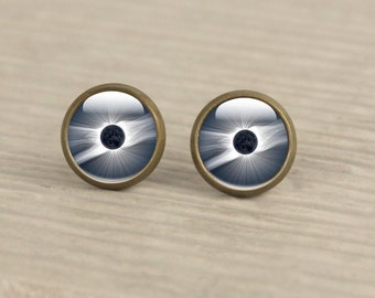 Solar Eclipse Studs - Total Eclipse Earrings Studs - Eclipse Jewelry - Sun Eclipse Gifts