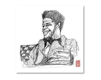 Al Green / Black and White / Fine Art Print / Giclee / Yokai Illustration / Artist Portrait Series / One Line / Continuous Line