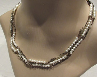 Three Strand Swarovski Pearl & Floral Chain Necklace/ Handmade/ Hand Crafted
