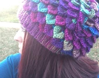 Crochet Dragon Slouchy Hat to Match Dragon Gloves - Crocodile Stitch Hat