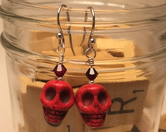 Hand Made Earrings- Red Skull
