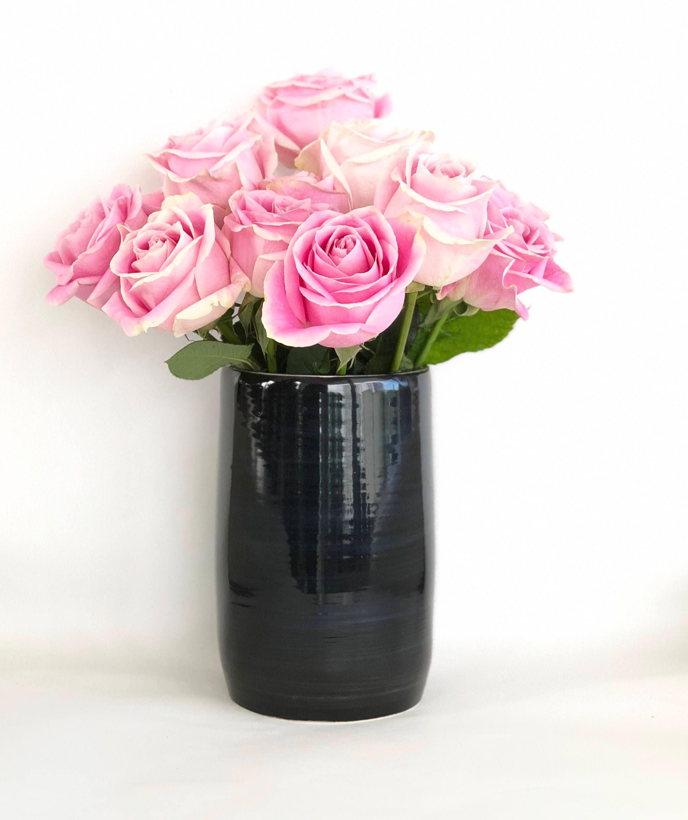 Black and white flower vase handmade wheel thrown mightylinksfo