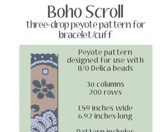 Boho Scroll Cuff Bracelet Pattern
