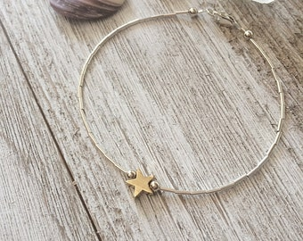 Tiny Gold Star Bracelet, Dainty Sterling Silver Stacking Jewelry