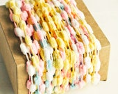 Mini Pom Pom Garland in Pastels - 6 Yards - Valentines Baby Novelty Twine Vintage Ribbon Cord Trim Pompom Petite Pretty Party Decor