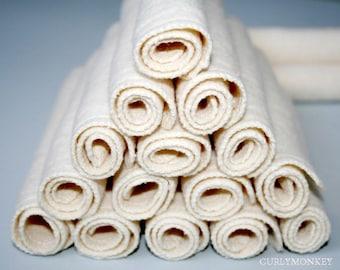 "12 Hemp fleece washcloths reusable baby cloth diaper wipes Organic Cotton wash cloths. 7"" square"