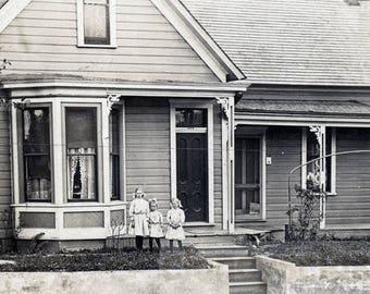 1914 Little Girls Sisters Front Americana Farmhouse RPPC