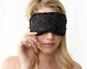 Ruffled silk sleep mask with lace overlay - sexy soft eye mask / sleepmask in black silk with lace and ruffles  - boudoir accessories gifts