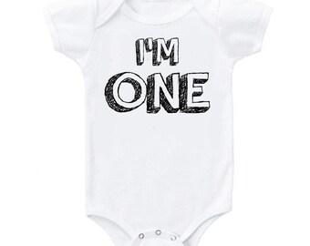 I'm One bodysuit, first birthday bodysuit, I'm one shirt, first birthday shirt, boy first birthday shirt, I am one shirt