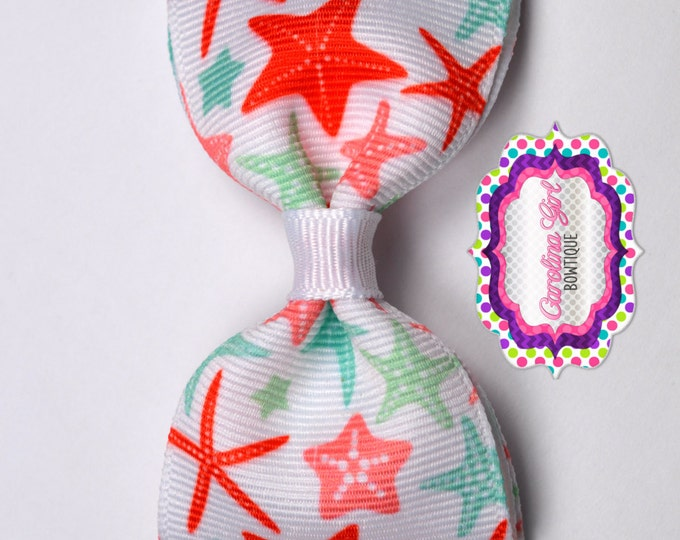 "Starfish ~ 3.5"" Bow ~ No Slip  ~ Girls Barrette ~ Toddler Bow ~ Baby Hair Bow ~ Hair Clip ~ Girls Hair Bow"