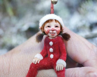 Miniature pixie girl 1:12 dollhouse size by Tatjana Raum art doll sculpture