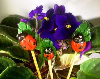 Lady Bug Decor, Potted Plant Decor, Plant Stakes, Ladybug Plant Stakes, Inside Plant Decor
