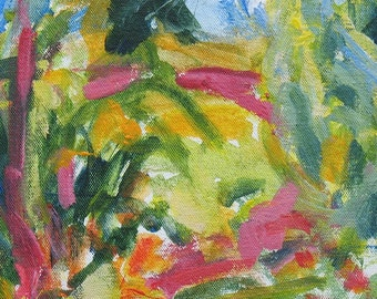 June Gardens GICLEE ART PRINT 11 x 17 abstract botanical summer floral pink orange red blue