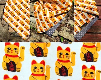 NEW-Ready To Ship-Maneki Neko-Good Luck Bandana-Double Snap-Unisex Snapback Bandana Scarf