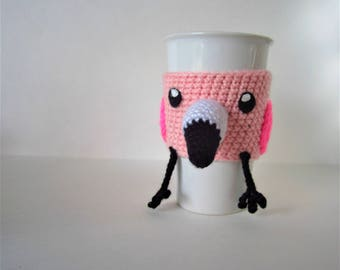 Cute Crochet, Bird Cup Cozy - Pink Flamingo Cup Cozy - Summer Coffee Sleeve - Coffee Clutch - Crochet Cup Holder - Coffee Culture - Bird Cup