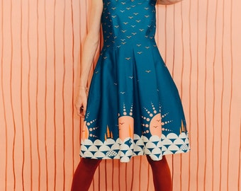 Daisykleid Sunset New Blue wrinkle dress with pleated wood