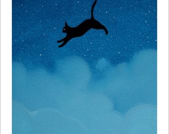 The black cat in clouds