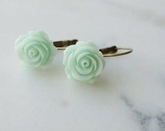 50% off SALE! Earrings, mint green resin rose brass dangle earrings