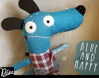 Stuffed dog toy Plush toy Stuffed animal Dachshund toy  Children gift Baby gift Original Unique Handmade blue dog Textile toy